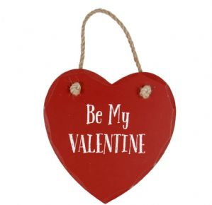 Adorable 'Be My Valentine' Shabby Chic Wooden Hanging Heart Plaque